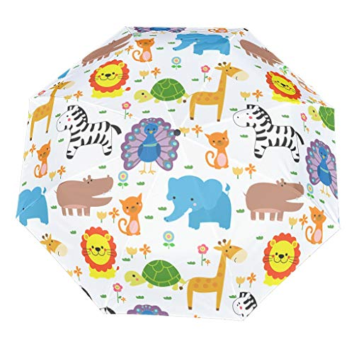 Cartoon Animal Compact Travel Umbrella Cool Outdoor Sun&Rain Umbrella Sturdy Lightweight Dome Repel Umbrella With UV Protection