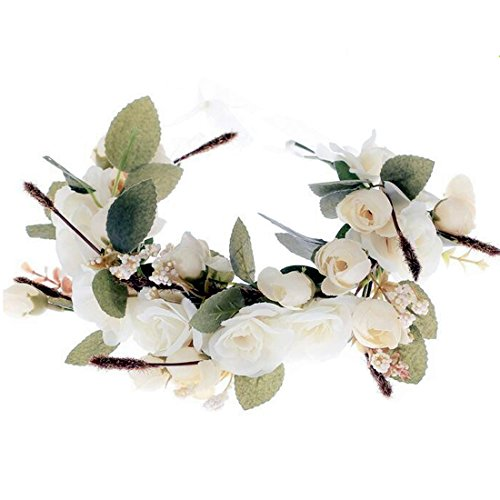 YUNF Flower Wreath Headband Floral Crown Garland Halo With Floral Wrist Band Set for Wedding Festivals and Maternity (Big Flower-8) (Sugar Hat Pink)