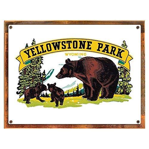 Cheap Wood-Framed Yellowstone Park Metal Sign: Travel Decor Wall Accent for kitchen on reclaimed, rustic wood