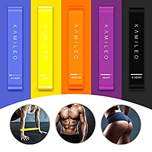 KAMILEO Resistance Bands, Exercise Bands for Legs Butt Workout at Home or Gym, Set of 5 (with eBook, Poster, Workout Log & Carry Bag)