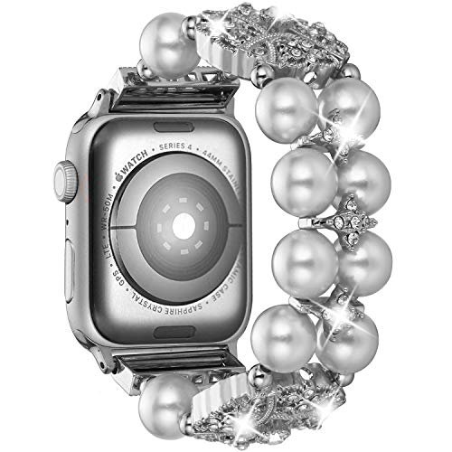 Brione Compatible with Apple Watch Band 42mm 44mm, Stretchy Pearl Beaded iWatch Band Bracelet Women Series 4 3 2 1 Bling Diamond Rhinestone Strap Cuff Ladies Jewelry Wristband - Silver
