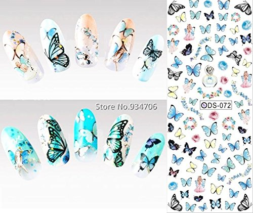 Nail Design Water Transfer Nails Art Sticker Colored Butterfly Nail Wraps Sticker Watermark Fingernails (London Halloween Stores)