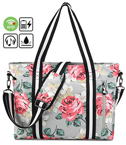 Laptop Tote Bag Women 15.6 Inch Work Handbag Floral Water Resistant RFID Anti Theft Shopping Shoulder Messenger Bag Girl Travel Fits Notebook, MacBook with USB Charging Port (15.6 Inch, A-Grey)