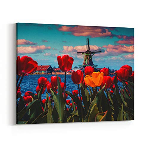 Rosenberry Rooms Canvas Wall Art Prints - Blossom Tulips in The Dutch Village with Famous Windmills Spring Sunny Morning On The Netherlands Canals Instagram Toning (30 x 24 inches)