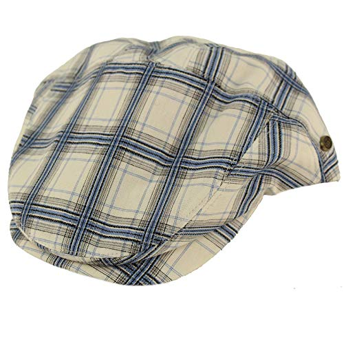 Epoch Men's 100% Cotton 7 Panel Ivy Mixed Pattern Driver Cabby Flat Cap Hat L/XL Plaid White