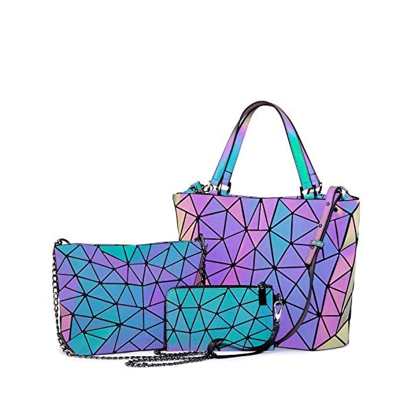 Geometric Luminous Purses and Handbags for Women Holographic Reflective Crossbody...