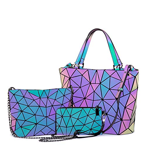 Geometric Luminous Purses and Handbags for Women Holographic Reflactive Crossbody Bag Wallet