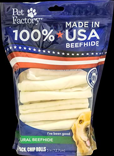Pet Factory 78704 Beefhide | Dog Chews, 99% Digestive, Rawhides to Keep Dogs Busy While Enjoying, 100% Natural Flavored Rolls, Pack of 22 in 5