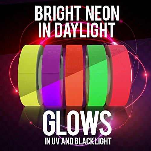 5 Pack Neon Blacklight Tape - Create Colorful Birthday Cards and Decorations with UV Glow in The Dark Tapes - Indoor Christmas Party Decor Home Decorations [5 Rolls - 1/2x25ft]