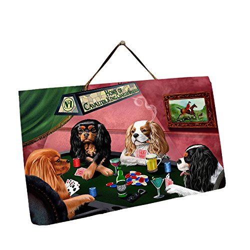 Charles Hanging - Home of Cavalier King Charles Spaniel 4 Dogs Playing Poker Photo Slate Hanging