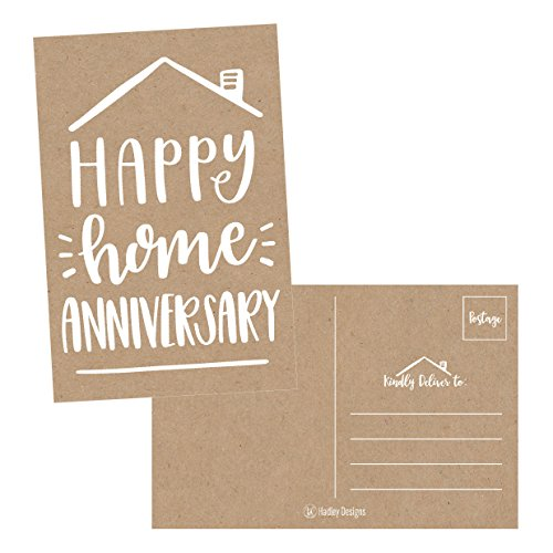 25 Kraft Happy Home Anniversary Realtor Cards, Blank Greeting House Postcards, Bulk Real Estate Thank You Notes, Welcome Home Realtor Gifts Stationery, New Realtor Gifts For Clients, Housiversary Card Anniversary House