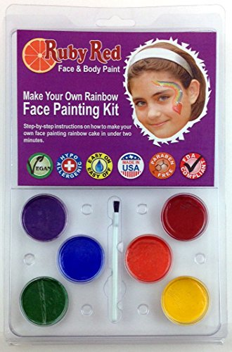 Ruby Red Paint Face Paint, 2ML X 6 Colors - Clam Make Your Own Rainbow ()