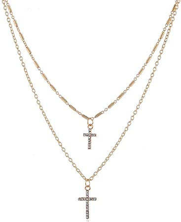 21106eb37ae78 Amazon.com : Multilayer Alloy Cross Pendant Necklaces Vintage Charm ...