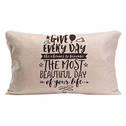 ALEX Throw Pillow Case Decorative Cushion Cover Cotton Polyester Sofa Chair Seat Rectangle Pillowcase Design With Most Beautiful Day Inspirational Life Quote Custom Pillow Cover Sized 12X20 -