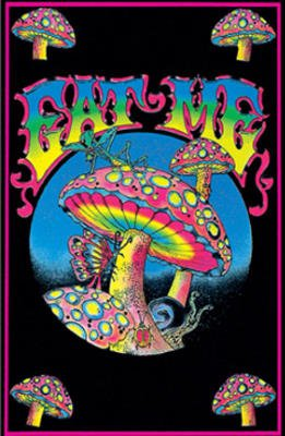 t Me Flocked Blacklight Poster Print (Mushroom Blacklight Poster)