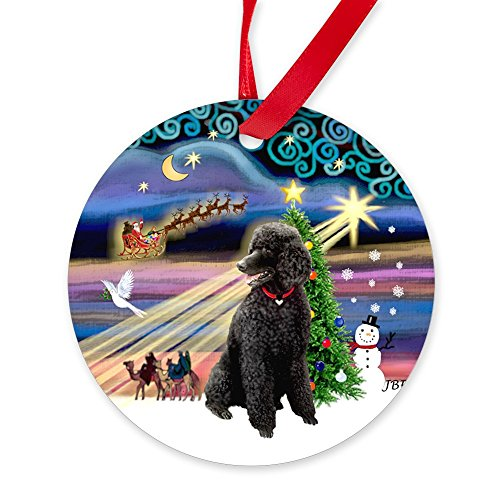 CafePress Xmas Magic - Black Poodle (ST) Ornament (Round) Round Christmas Ornament