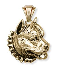 Pit bull charms gold and silver charms and pendants solid pit bull pendant 14k yellow gold vermeil pitbull aloadofball Choice Image