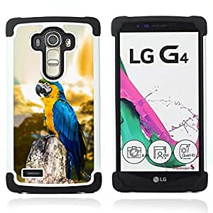 "LG G4 H815 H810 H811 LS991 LS986 US991 H815 U812 - 3 en 1 impreso colorido de Altas Prestaciones PC Funda chaqueta Negro cubierta gel silicona suave (Macaw Blue Parrot"")"