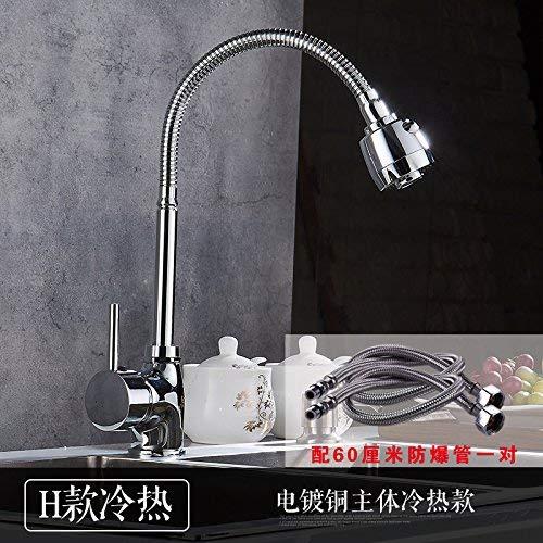 JingJingnet 洗面台の蛇口タップ浴室のシンクの蛇口真鍮キャスター回転台所洗面台の温かい料理と冷たい料理ステンレス鋼シングル冷たい洗面台の蛇口 (Color : H) B07RVJF3V4 H