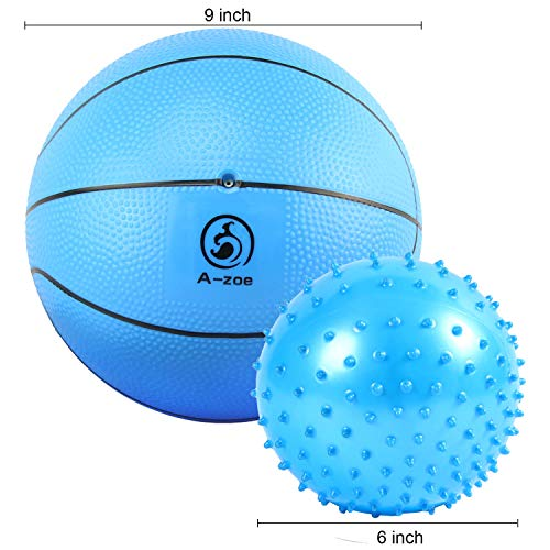 A-zoe Water Basketball Pool Basketball - Kids Indoor Basketball - 9 Inch - Soft and Bouncy-Free 6 Inch Massage Stress Relief Ball (Blue) -
