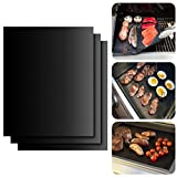 """100%Non-Stick Grilling Mats by BNZHome - Set of 3 Heavy Duty BBQ Grills mats,FDA Approved-Reusable, Extra Thick Dishwasher safe, Heat Resistant Barbecue Sheets for BBQ,Baking and grilling 17.3""""x13"""""""