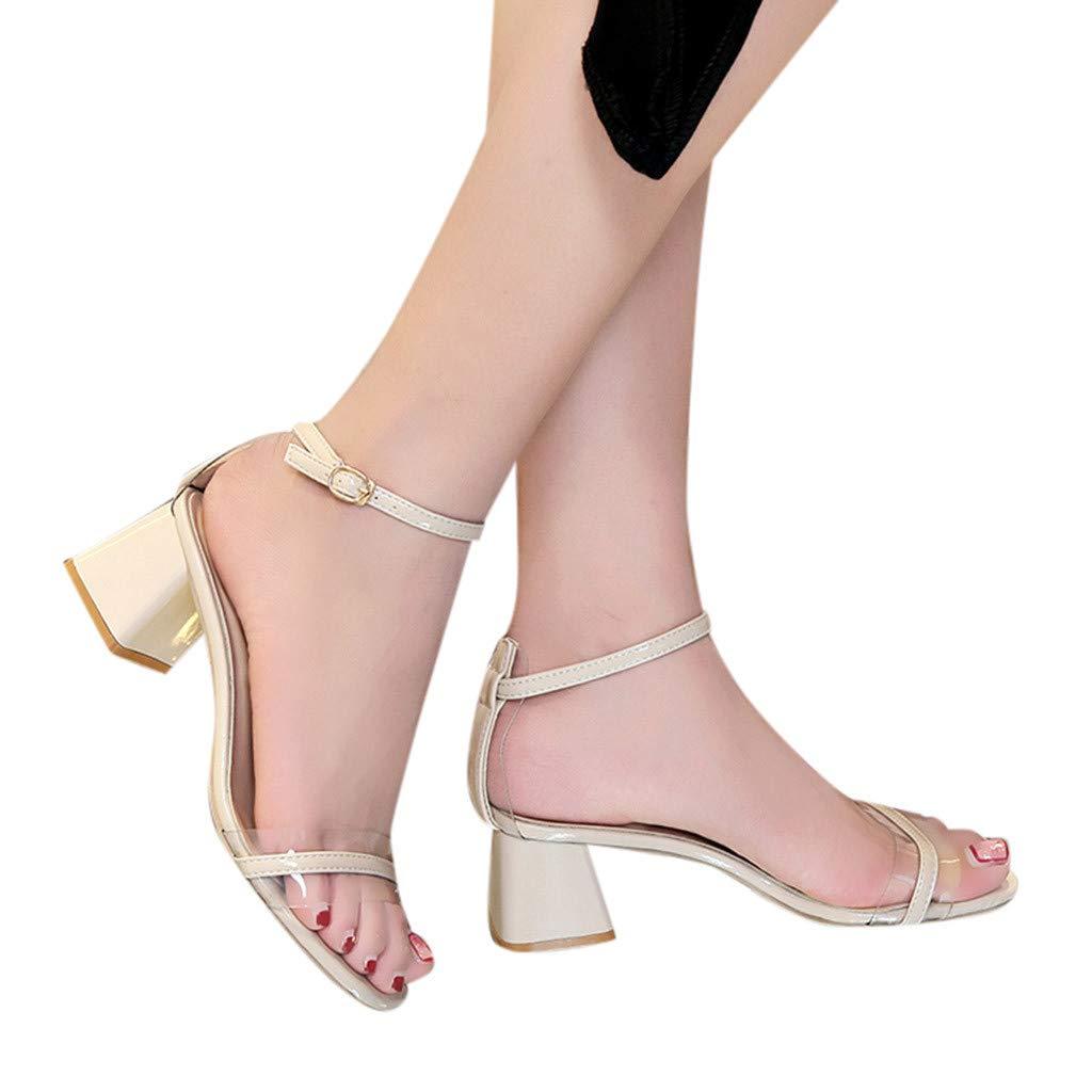 Women's Thick Heel Sandals Open-Toe Transparent Plastic Sandals Wild Buckle Mid-Heeled Solid Beauty Queen Shoes Size US5-7 (Beige, US:5)