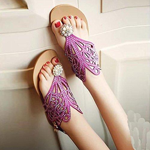 Sandales De Femmes Pantoufle Strass Chaussures Talon Vitage Rome Plat Plage Hunpta Anti Dérapage Violet dvSwqTYS