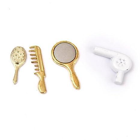 SUOSI Casa de mu?ecas en miniatura peine Espejo Secador de pelo Juegos de Maquillaje