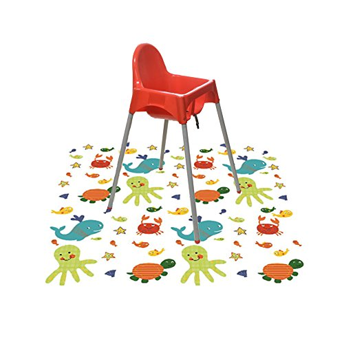 Splat Mat for Under High Chair/Arts/Crafts, Wo Baby Reusable Waterproof Anti-slip Floor Splash Mat, Portable Play Mat and Table Cover (51'', Seaworld) by Wo Baby (Image #7)