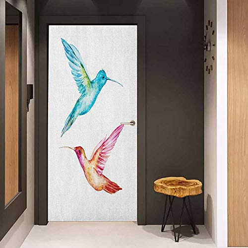 - Onefzc Soliciting Sticker for Door Watercolor Colorful Aquerelle Hummingbirds with Brush Marks Effect Avian Animal Design Mural Wallpaper W35.4 x H78.7 Multicolor