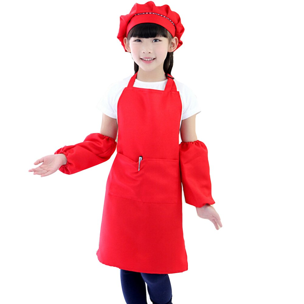 Childrens Kids Toddlers Aprons Painting Baking Cooking Apron and Hat Set School Art and Craft Smock HWQ101