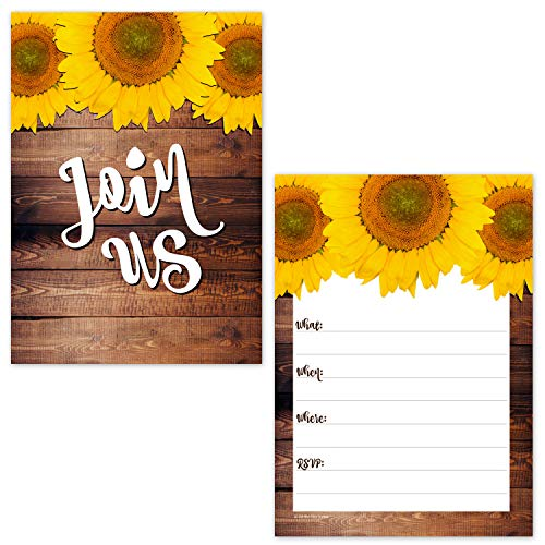 The Fill In Invitations Blank - Rustic Sunflower on Barn Wood Design Fill in The Blank Party Invitations (20 Count with Envelopes) - Fall Autumn Invites - Baby Shower, Birthday, Bridal Shower, All Occasion