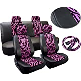 Premium Exotic Animal Print Pink Zebra Deluxe Plush Leatherette Car Seat Covers Set Synthetic Leather Double Stitched - Low Back Front Bucket Seats - Rear Bench - Steering Wheel - 4 Headrests