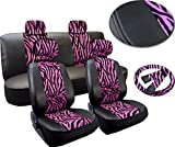 zebra pink car accessories - Premium Exotic Animal Print Pink Zebra Deluxe Plush Leatherette Car Seat Covers Set Synthetic Leather Double Stitched - Low Back Front Bucket Seats - Rear Bench - Steering Wheel - 4 Headrests