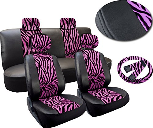 zebra car seat cover pu leather - 4