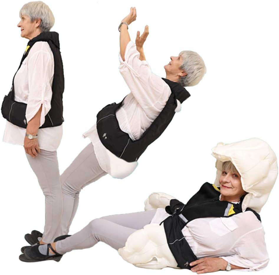 Reutilizable Chaleco Airbag Equipo de protección del sistema de bolsas de aire, Protección para Espalda y Cadera y Cuello y Coxis, para Moto Bicicleta Ciclismo Equitacion Hípica y Ancianos,Negro,XXL