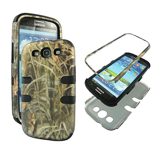 Samsung Galaxy S3 Camo - Hybrid 3 in 1 Black Camo Hay Samsung Galaxy S3 / S 3 / III i9300 High Impact Shock Defender Plastic Outside with Soft Silicon Inside Drop Defender Snap-on Cover Case