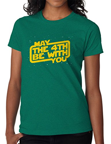 BBT Womens Star Wars Day, May the 4th Be With You T-shirt Tee L Antique Jade Dome (Th Dome)