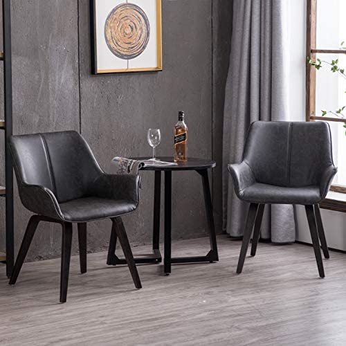Homy Grigio Modern Leatherette Dining Room Accent Arm Chairs Club Guest with Solid Wood Legs Set of 2,Charcoal