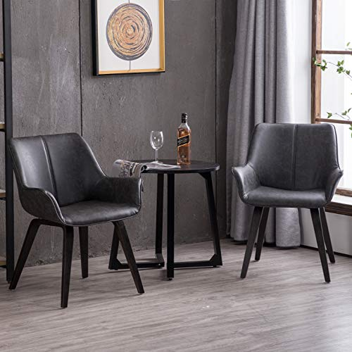 Homy Grigio Modern Leatherette Dining Room Accent Arm Chairs Club Guest with Solid Wood Legs (Set of 2,Charcoal) (Leather Arm Room Dining Chairs)