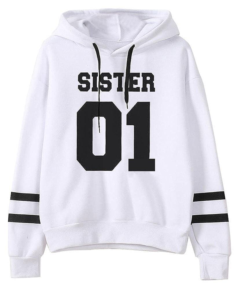 Mujer Mejores Amigos Impresión SISTER 01 Sudadera con Capucha Manga Larga Hoodies Sweatshirt Pullover Tops: Amazon.es: Ropa y accesorios