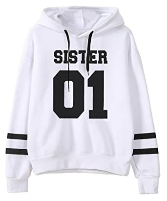 Mujer Mejores Amigos Impresión SISTER 01 Sudadera con Capucha Manga Larga  Hoodies Sweatshirt Pullover Tops  Amazon.es  Ropa y accesorios e5e79af730b