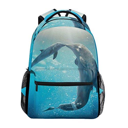 GIOVANIOR Kiss Dolphin Tale Backpack School Bag Bookbag Hiking Travel Rucksack ()