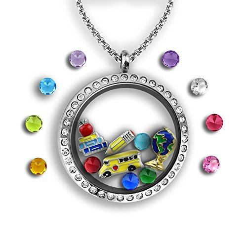 Teacher Gifts for Women Floating Locket Necklace Full of Teacher Charms, Teacher Appreciation Gifts Stainless Steel 30mm Authentic Floating Charm Locket | Memory Locket Filled with Charms (Full Christmas Present The Ultimate)