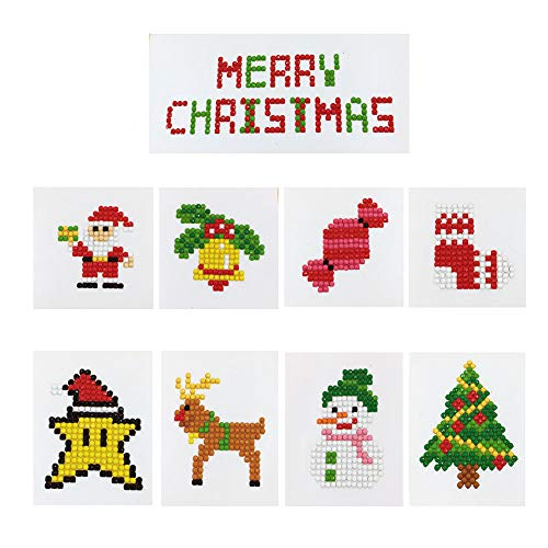 XUBX 5D DIY Diamond Painting Kits for Kids, Mosaic Sticker by Numbers Kits Arts and Crafts Set for Children (Christmas)