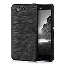 kwmobile TPU SILICONE CASE for Sony Xperia Z3 Compact Design Brushed aluminum anthracite transparent - Stylish designer case made of premium soft TPU