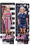 justice flat iron - Fashionistas Barbie #68 Doll Candy Stripe Dress + #63 Curvy Platinum - Fashion Original with Accessory 2-pack