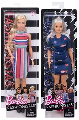 Fashionistas Barbie #68 Doll Candy Stripe Dress + #63 Curvy Platinum - Fashion Original with Accessory - With Brunette Sunglasses
