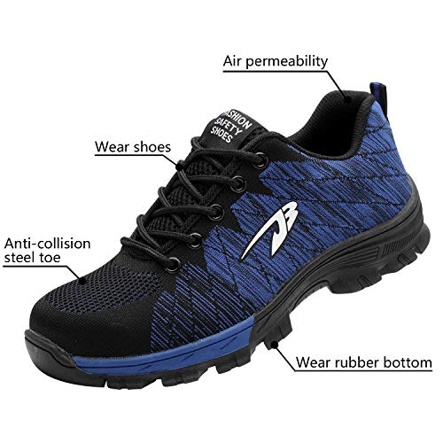 Blue 2 Toe Men's Shoes Steel Shoes Optimal Safety Shoes Work 4STc8aW8zg