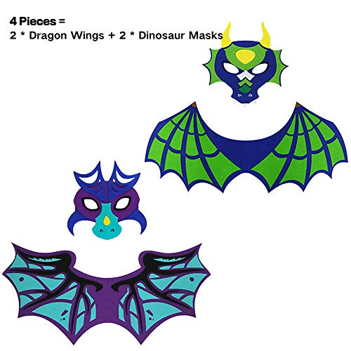 Dragon Wing and Mask-Toddler Boys Dinosaur Costume for Kids Party Favors Green-Purple ()